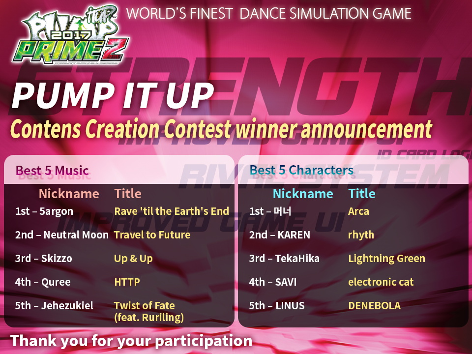 Pump It Up: Contents Creation Contest Winners